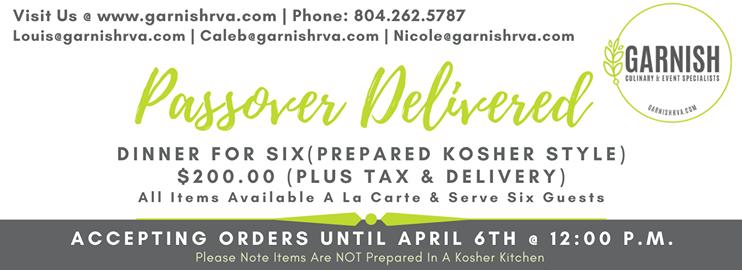 Passover Menu Delivered